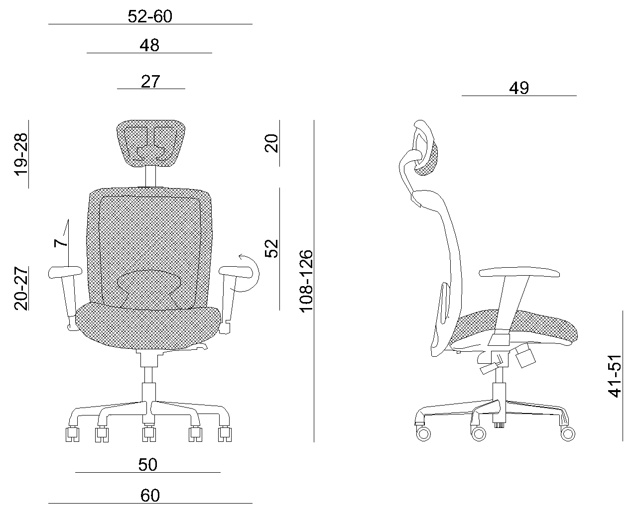 Office chair ergonomic Unique EXPANDER dimensions