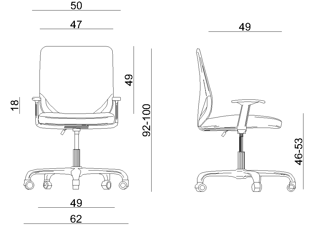 Ergonomic Unique MOBI office chair dimensions
