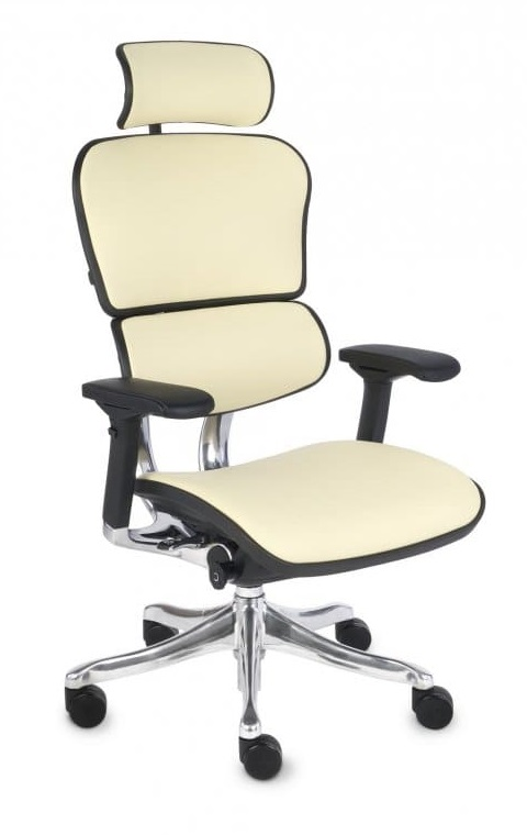 Ergonomic office chair Ergohuman natural leather - beige color