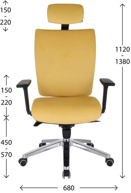 Ergonomic KIM HD armchair - dimensions