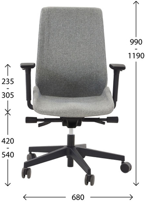 Ergonomic office chair MOON - dimensions
