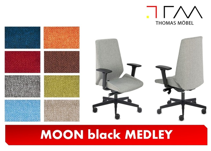 MEDLEY upholstery for the MOON black armchair