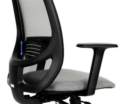Backrest with the lumbar profile of the NODI swivel chair