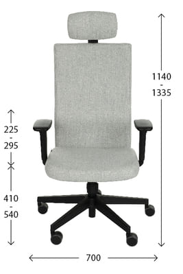 Ergonomic Team Plus office chair - dimensions