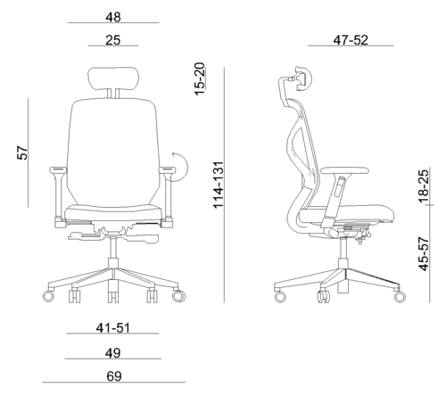 HERO ergonomic office chair - dimensions