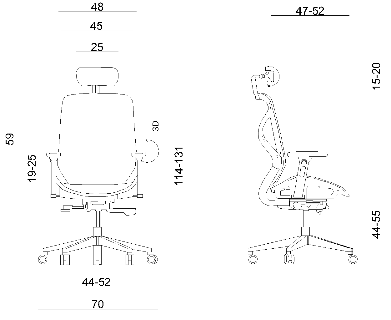 HERO ergonomic office chair mesh gray- dimensions